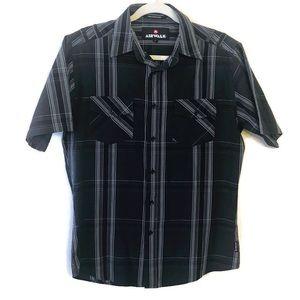 Airwalk Black Gray Plaid Stripe Button Down Shirt